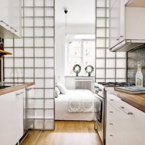 Двухрядная кухня в квартире-студии