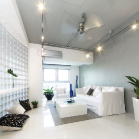 Серая стена в просторной гостиной