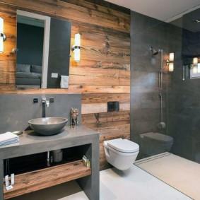 Серый агломерат в интерьере ванной