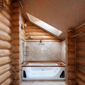 Дизайн ванной в срубовом доме