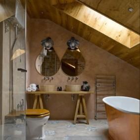 Оригинальная тумба под раковинами в ванной