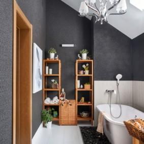 Серые стены современной ванной
