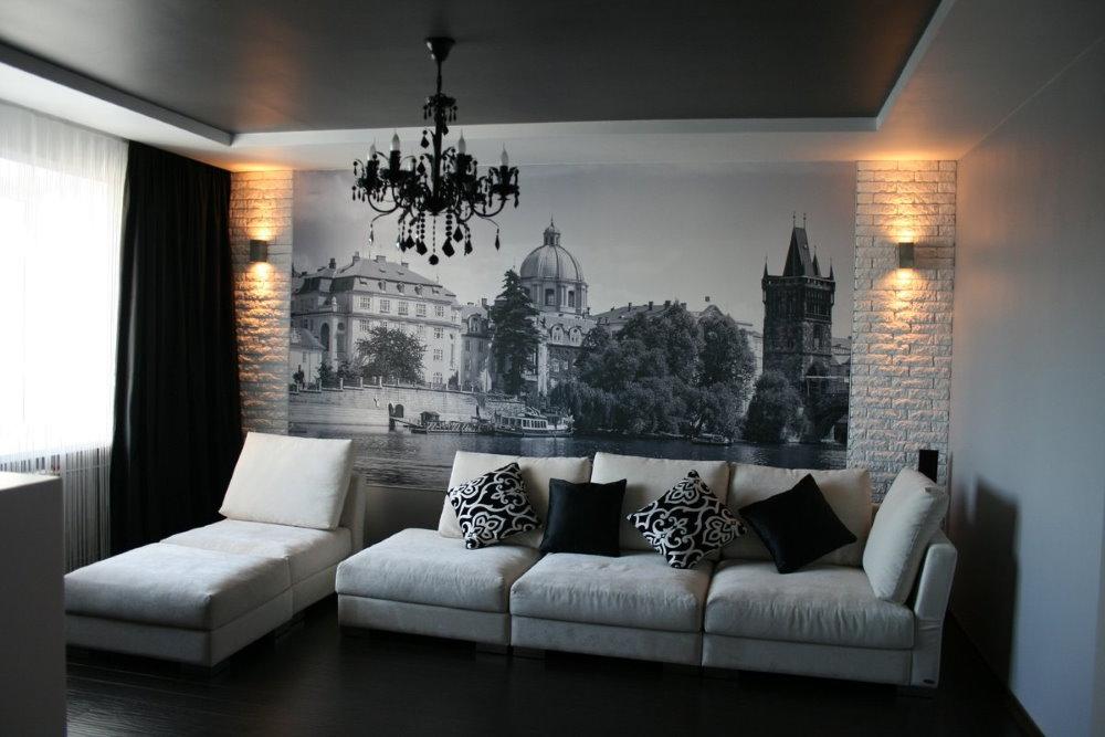 Декор фотообоями стены над диваном
