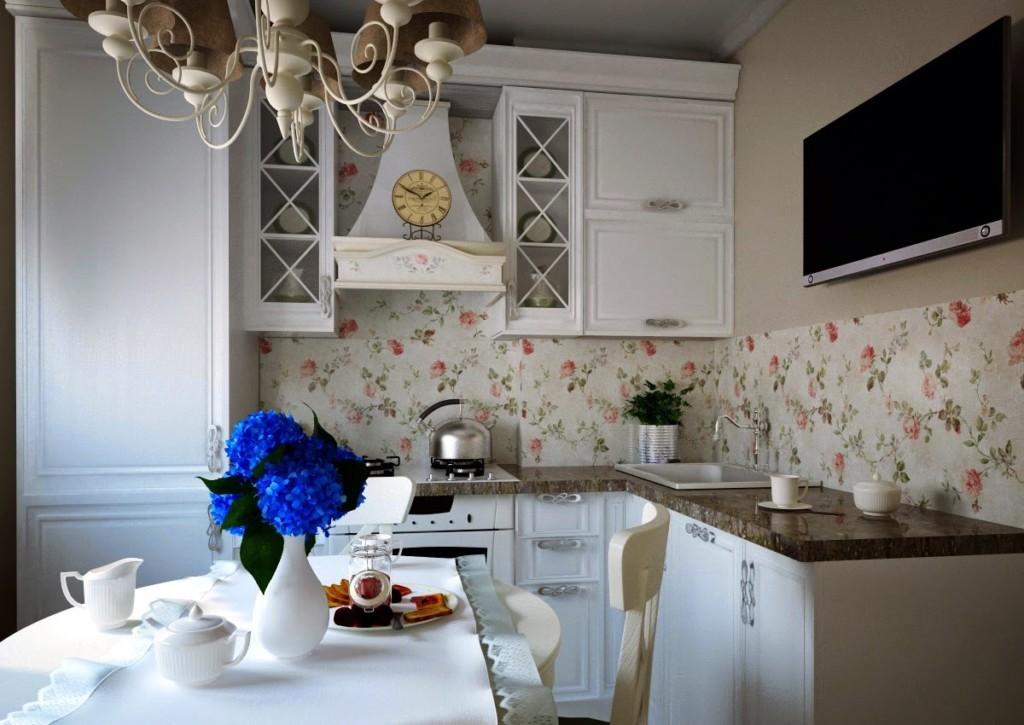Угловой гарнитур на кухне в стиле прованс