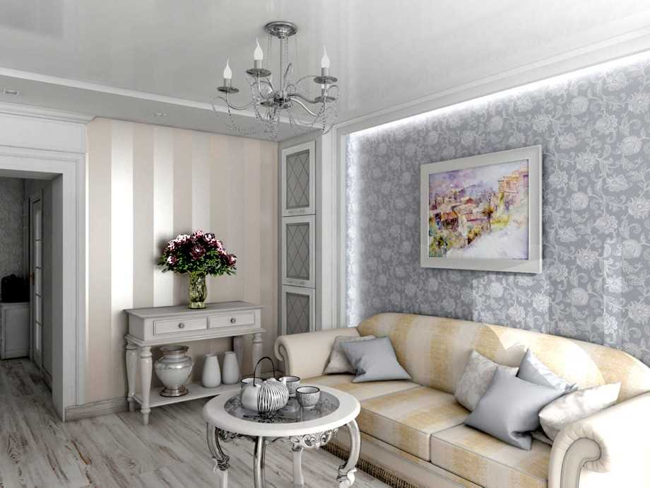 Картина на стене комнаты с диваном