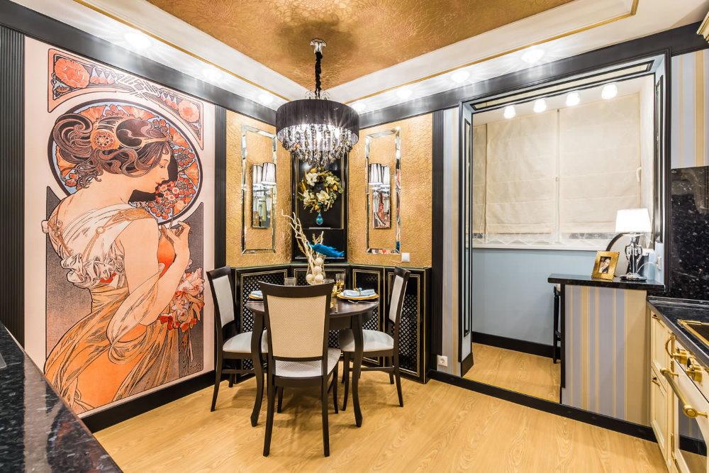 Фреска на стене кухни в стиле арт-деко
