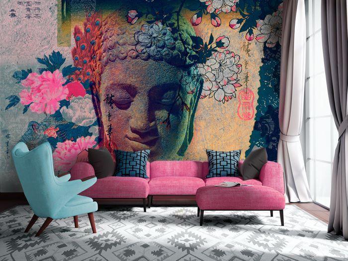 Роспись своими руками стены в гостиной квартиры
