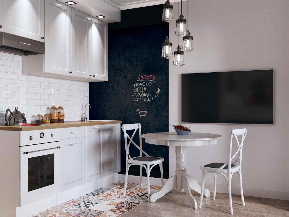 Грифельная доска на стене кухонной зоны
