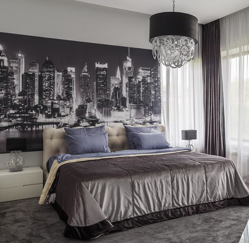 Фотообои на стене спальни в современном стиле