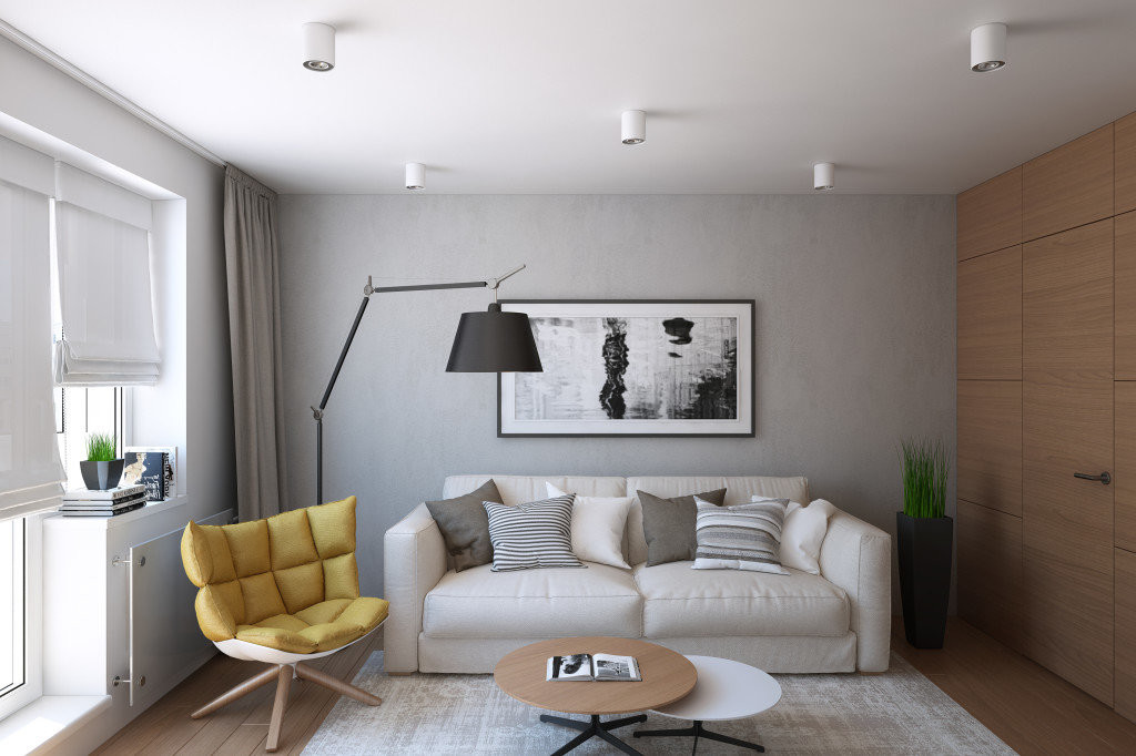 Интерьер гостиной квартиры с диваном
