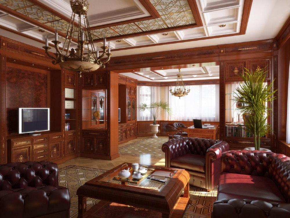 Декор потолка в гостиной английского стиля