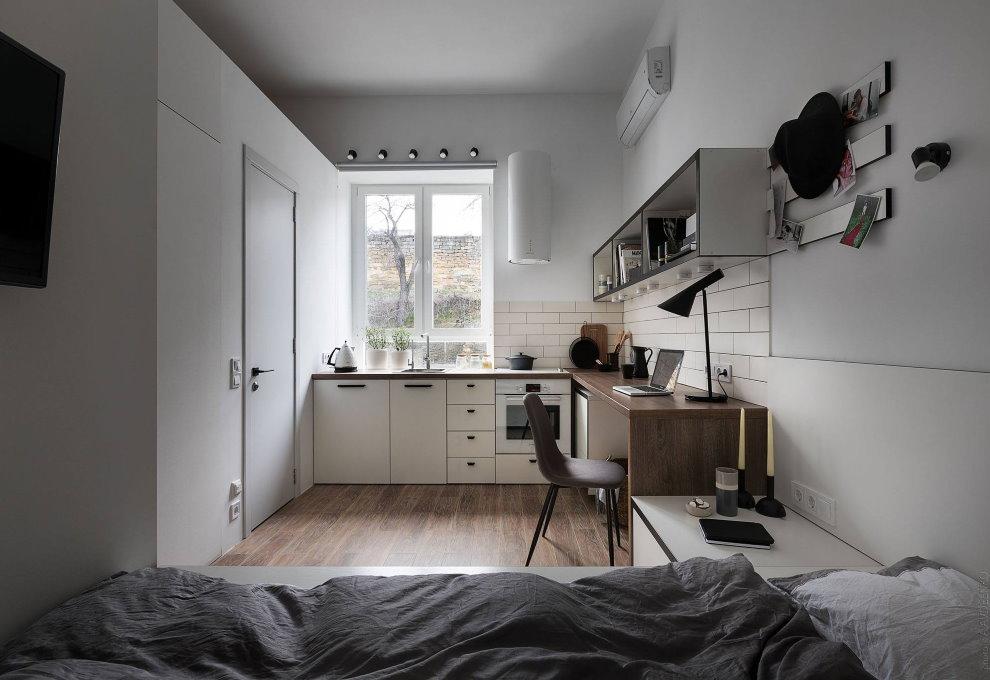 Интерьер узкой комнаты в квартире студии