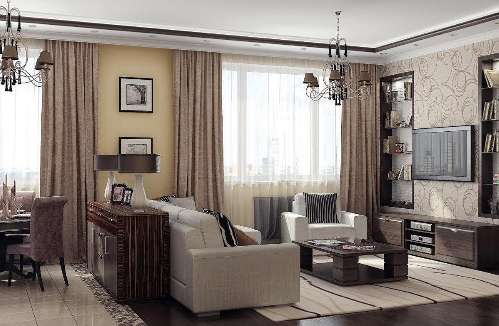 Два окна в гостиной двухкомнатной квартиры
