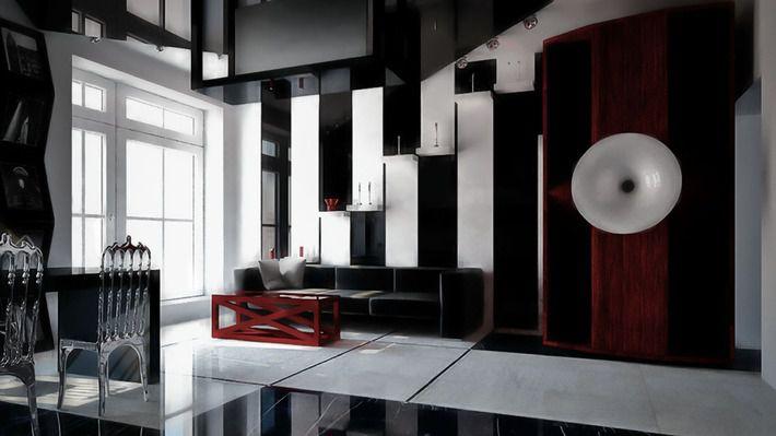 Черно-белая гостиная в стиле авангард