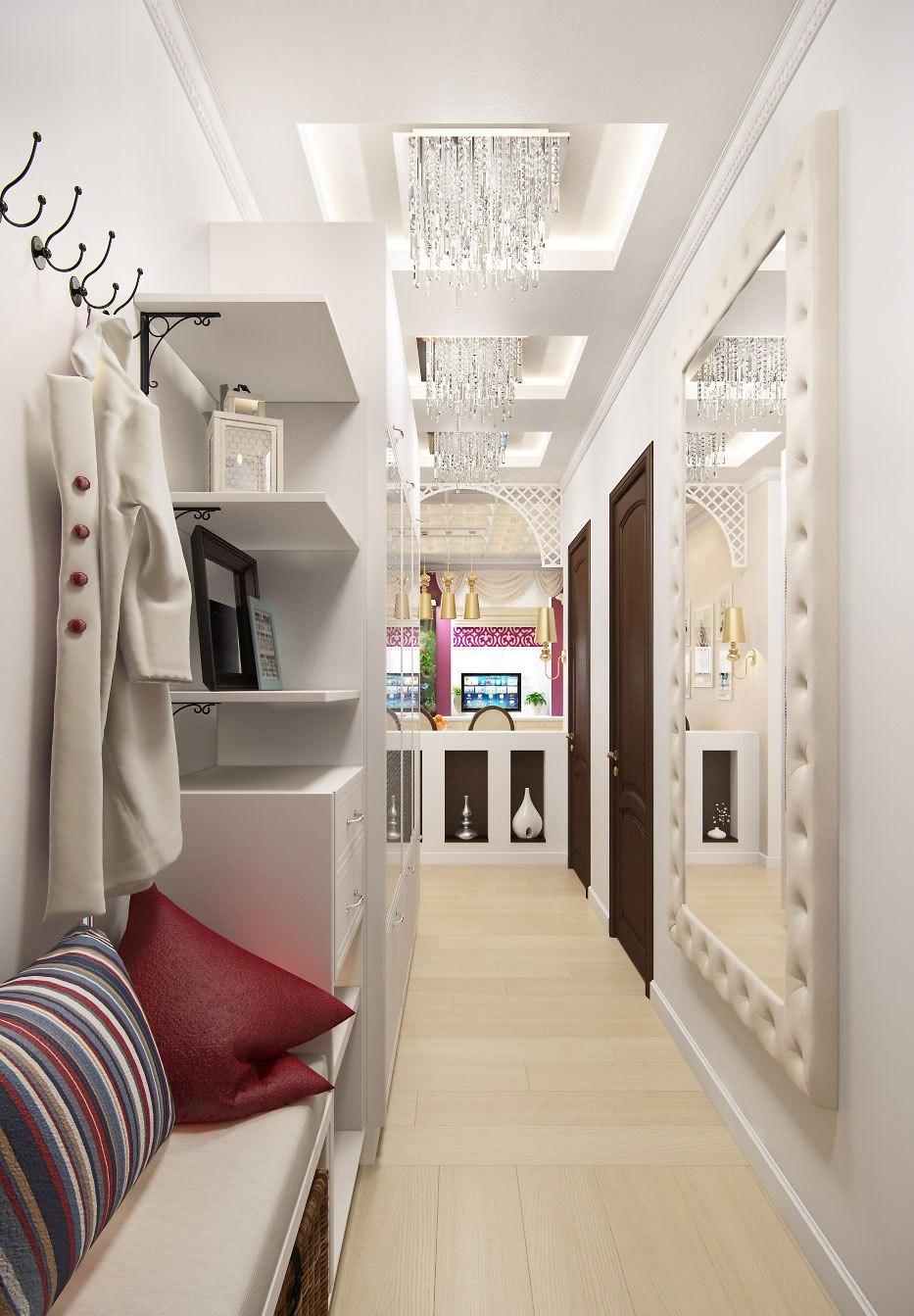интерьер узкого коридора в квартире панельного дома