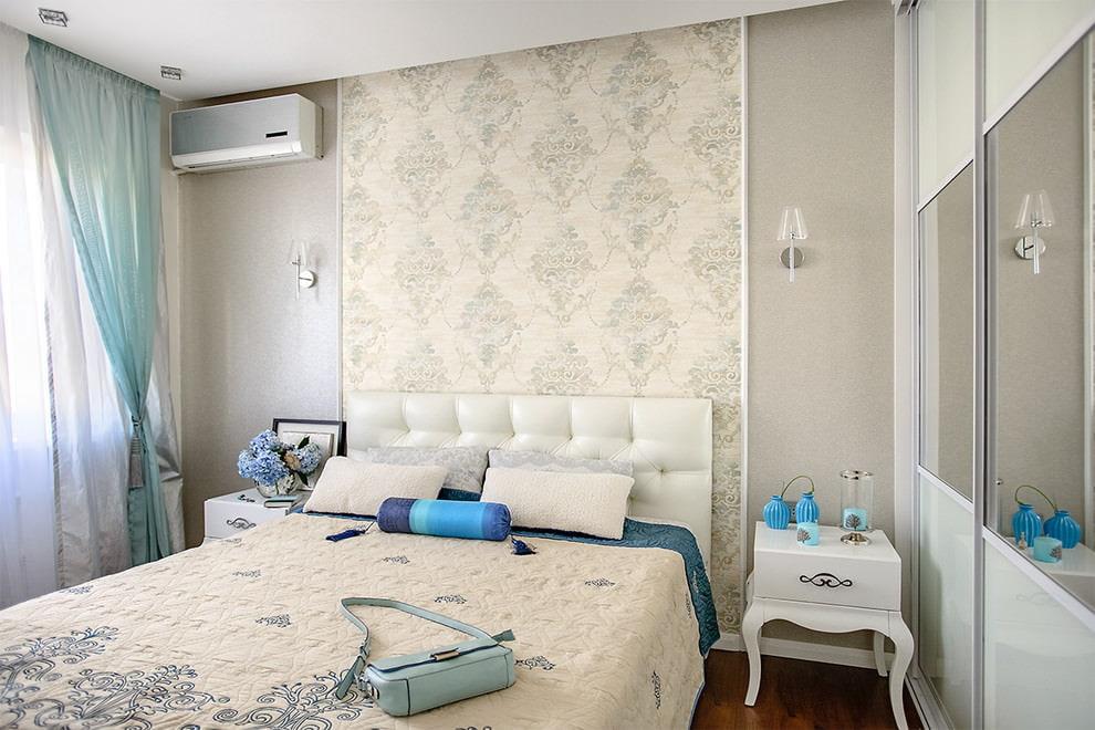 интерьер спальни серый с голубым