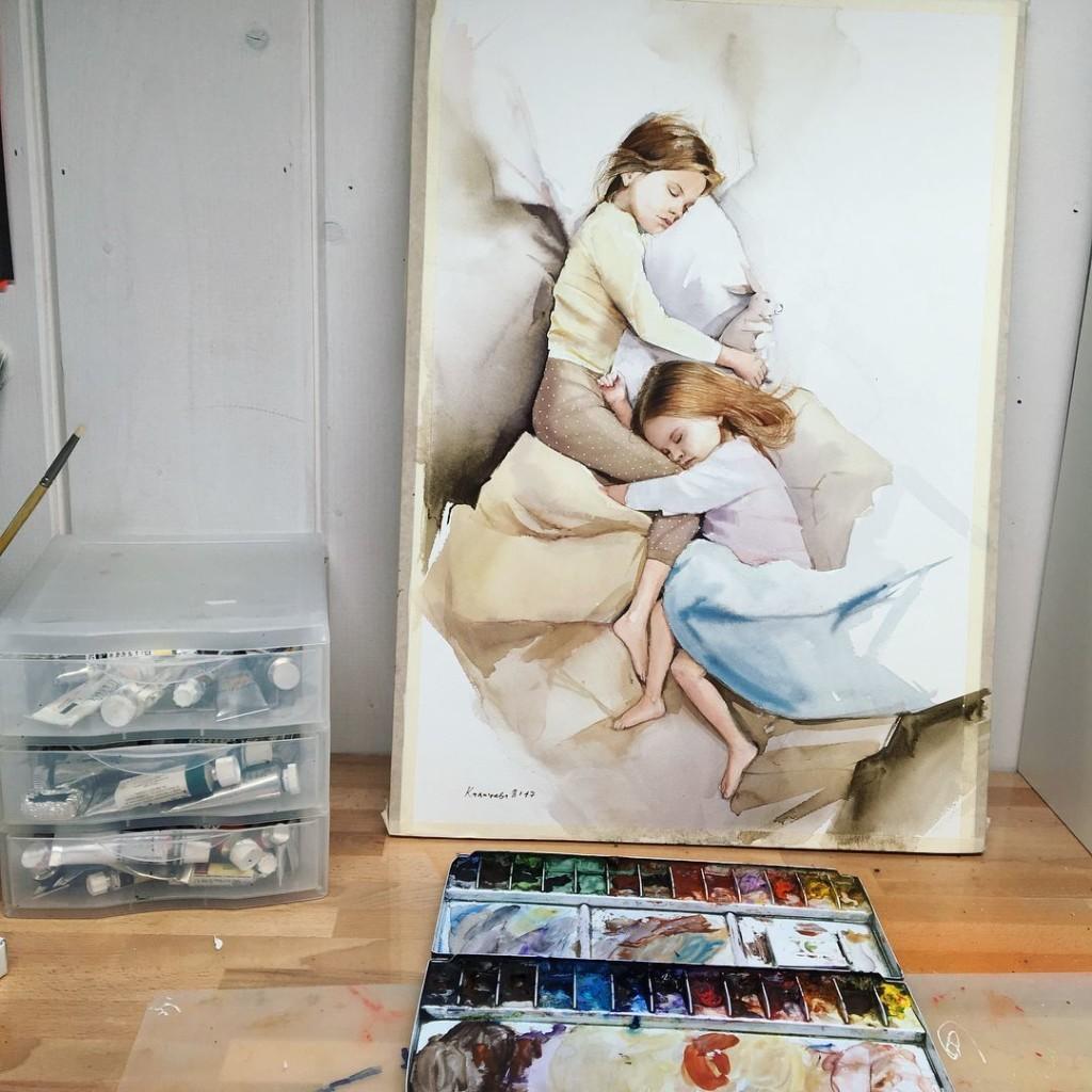 Картина с детьми в спальной комнате