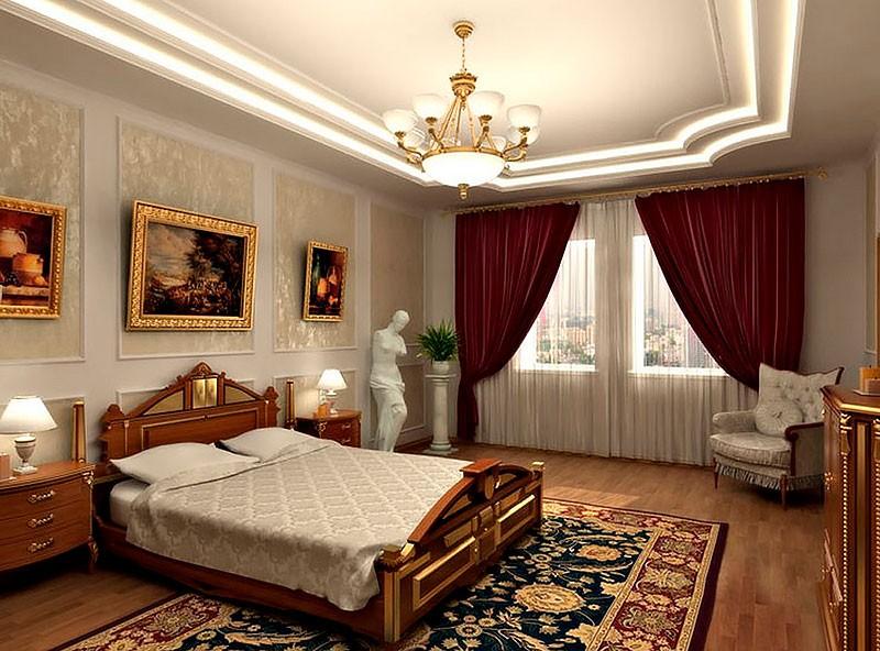 Картина в золотых рамках в спальне классического стиля