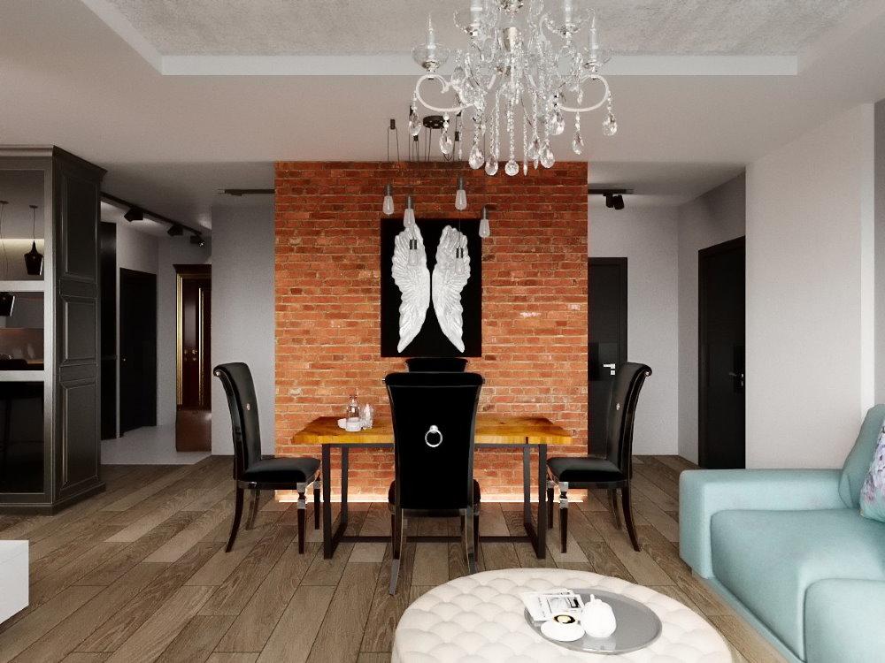 Обеденная зона кухни-гостиной в стиле лофт и арт деко