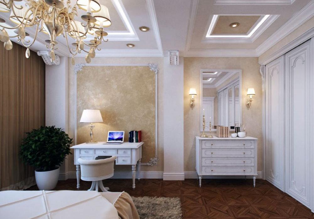 Интерьер спальни с рабочим столом в стиле классика