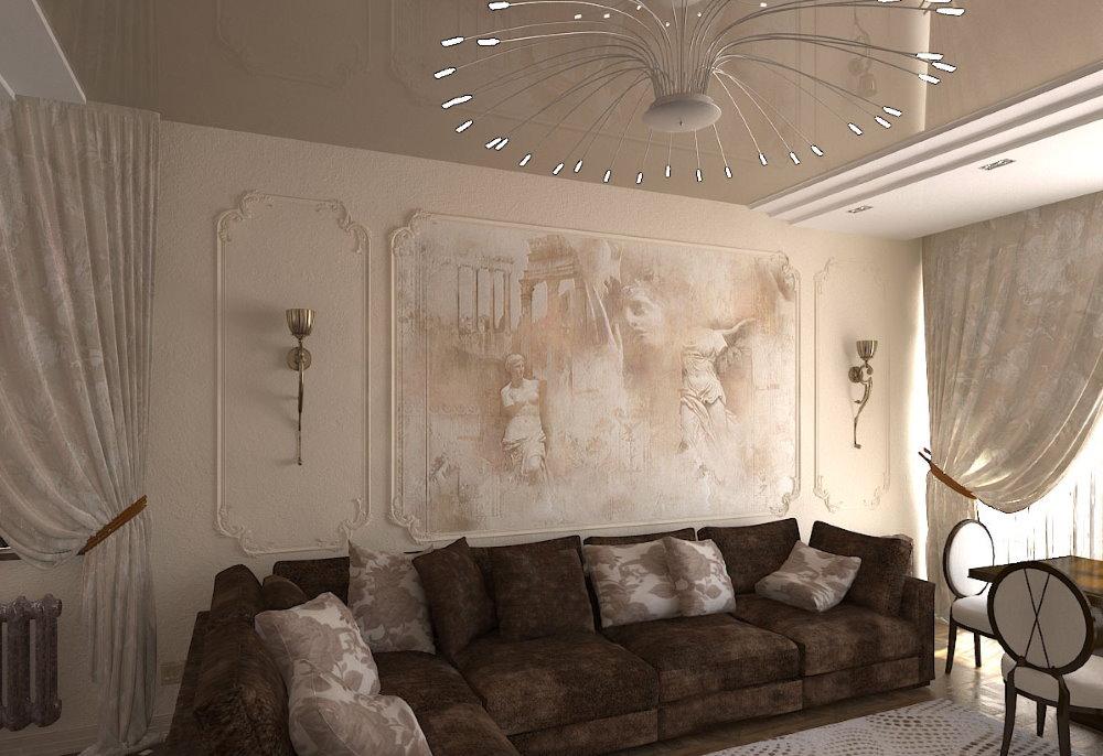 Художественная роспись стен в классической гостиной