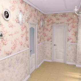 комбинированные обои в коридоре квартиры