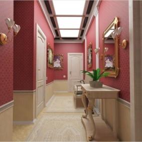 комбинированные обои в коридоре квартиры дизайн