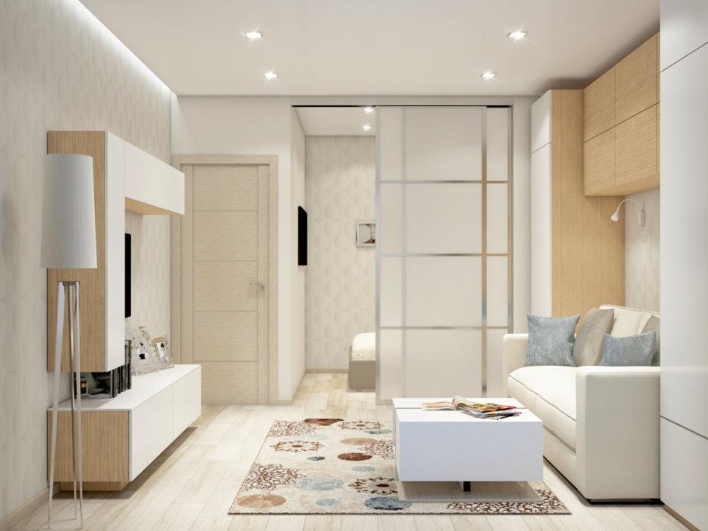 Светлая комната однушки в стиле хай-тек