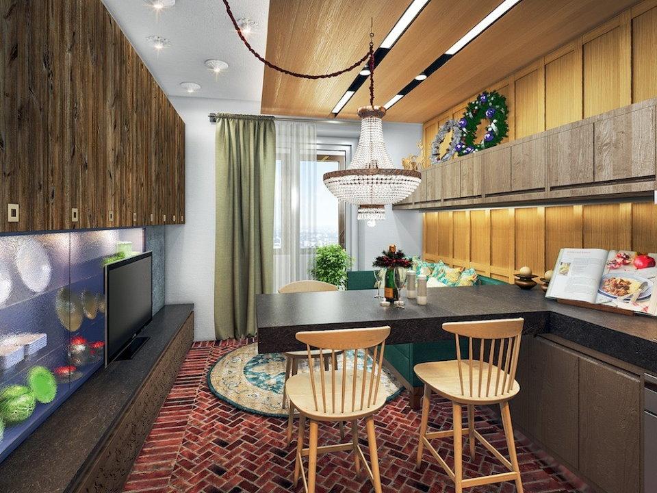 Дизайн однокомнатной квартиры в стиле фьюжн