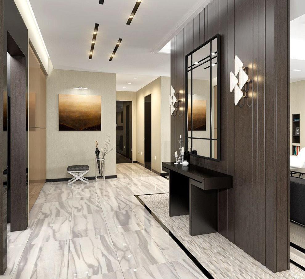 Коричневые стены прихожей в стиле минимализма