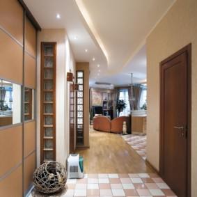 коридор с потолком из гипсокартона дизайн фото