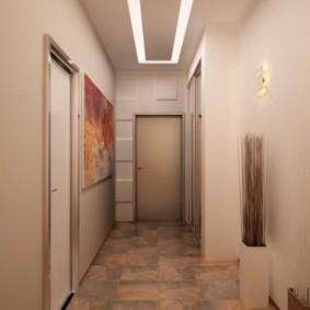 коридор с потолком из гипсокартона виды декора