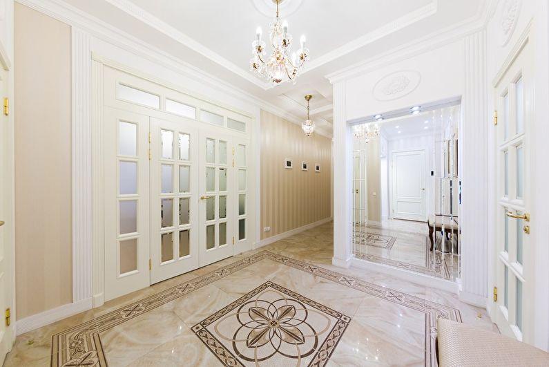 коридор с потолком из гипсокартона классика