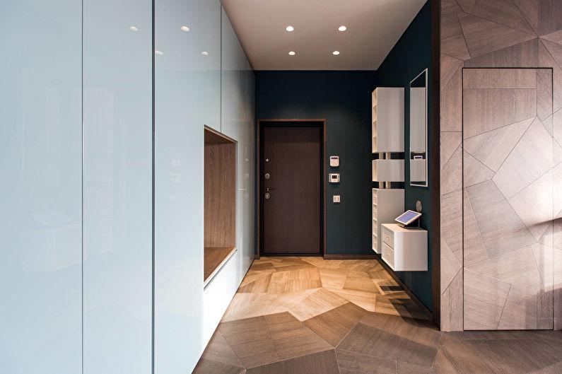 коридор с потолком из гипсокартона минимализм