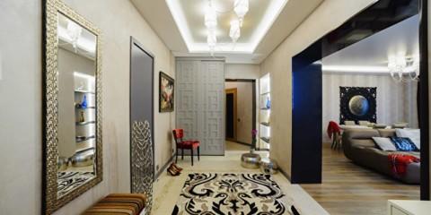 коридор с потолком из гипсокартона освещение