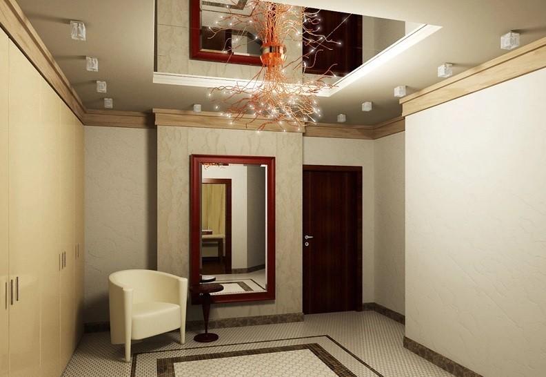 коридор с потолком из гипсокартона с зеркалом