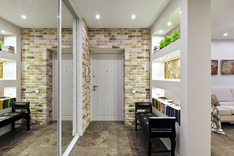 коридор с потолком из гипсокартона вариант дизайна