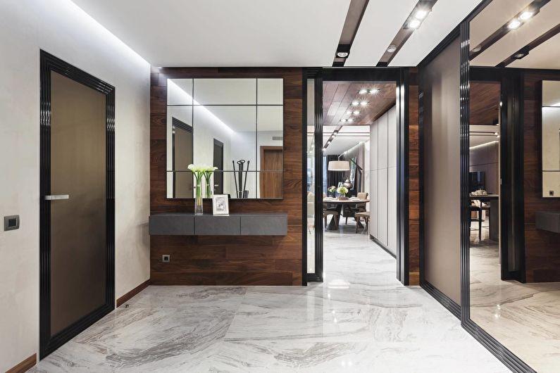 коридор с потолком из гипсокартона хай тек