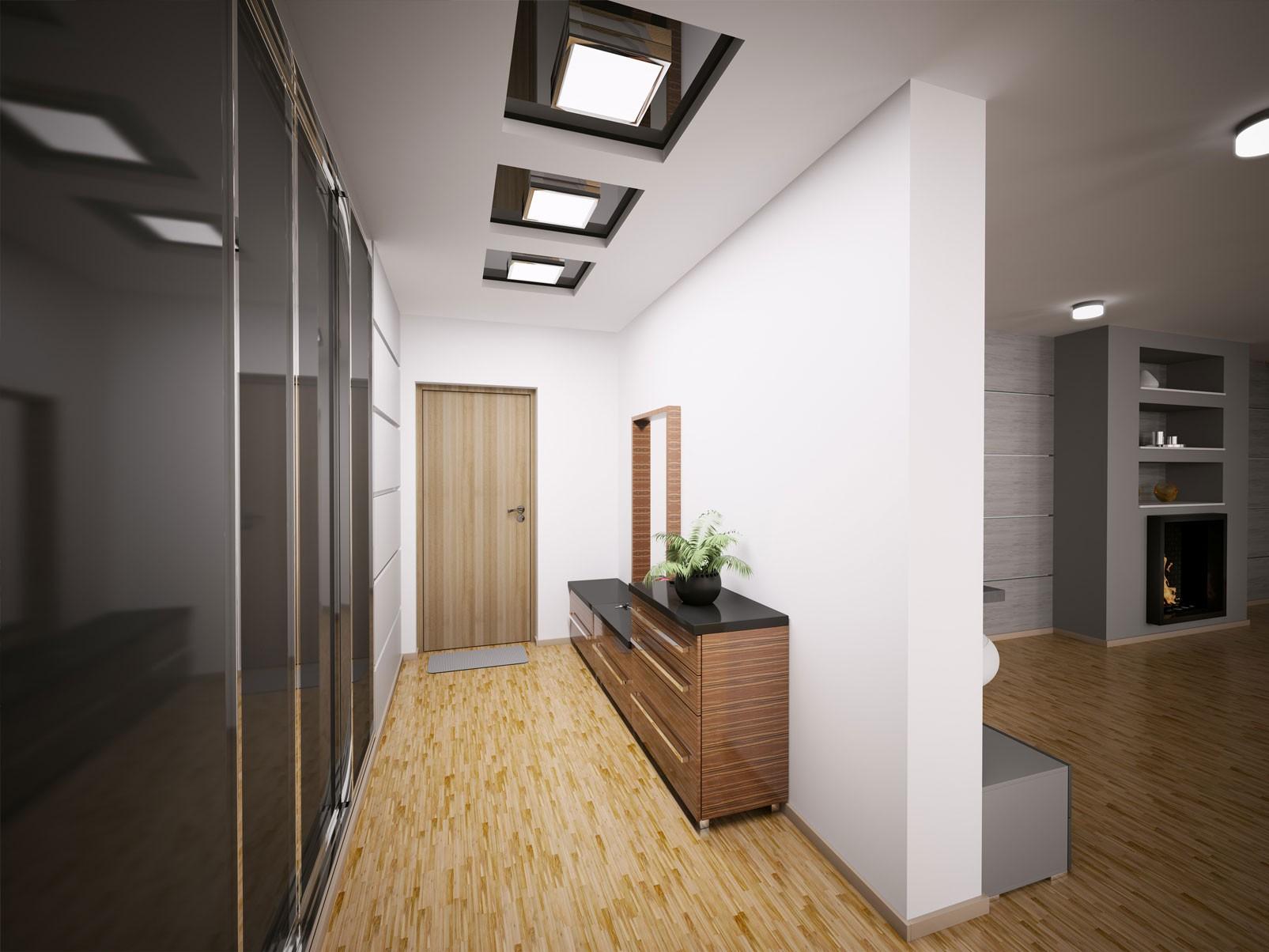коридор с потолком из гипсокартона