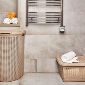 корзина для белья в ванную оформление