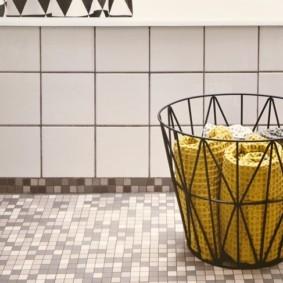 корзина для белья в ванную оформление фото