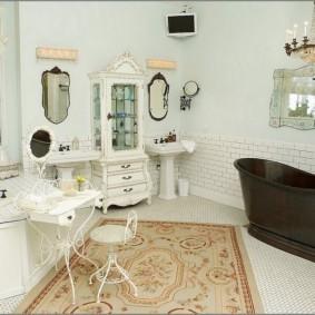 коврики для ванной комнаты интерьер