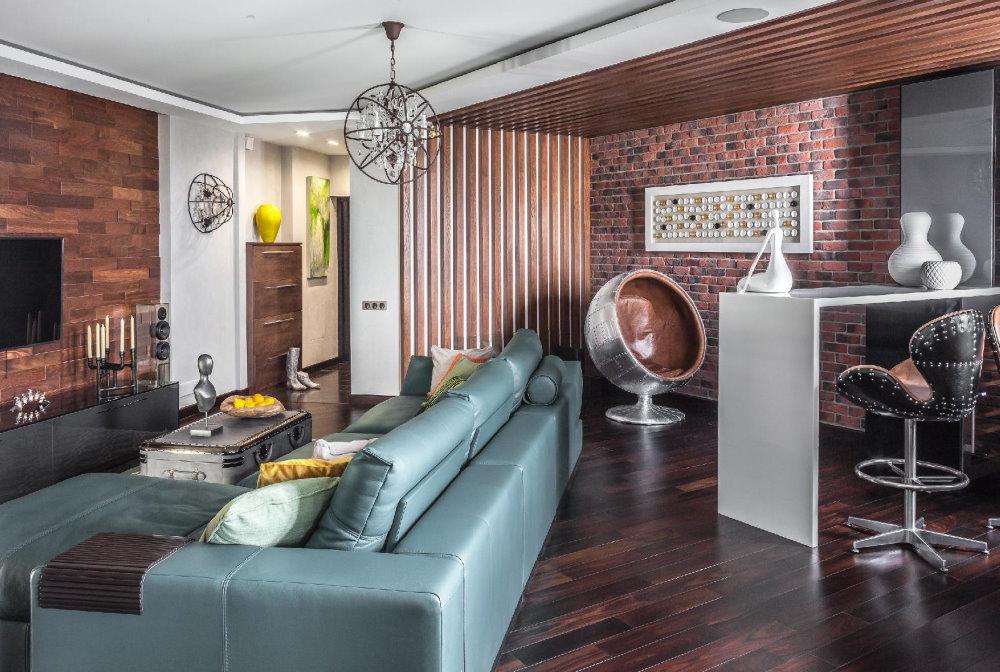 Мягкий уголок в кухне-гостиной стиля арт деко и лофт