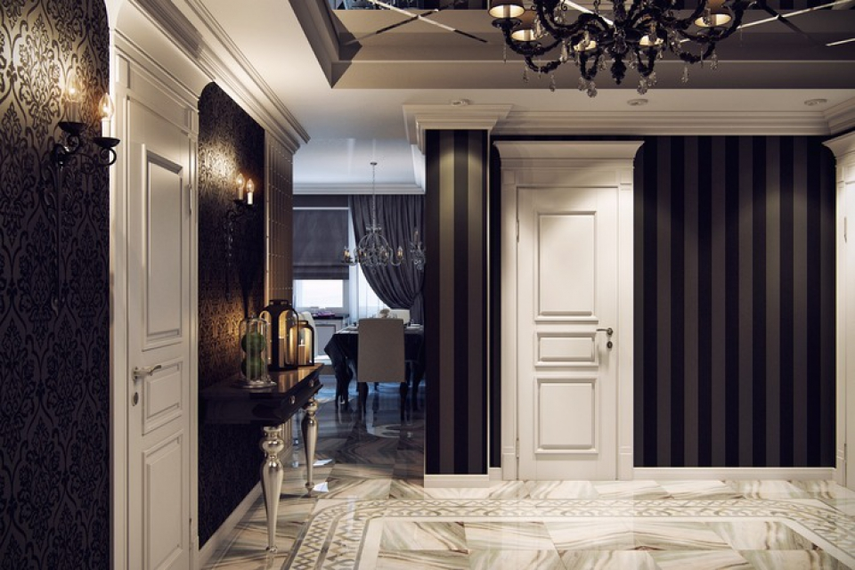 Красивый интерьер холл в трехкомнатной квартире