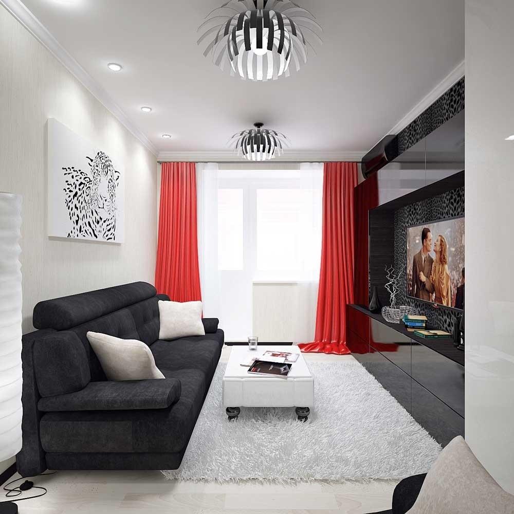 Красный шторы в маленькой гостиной