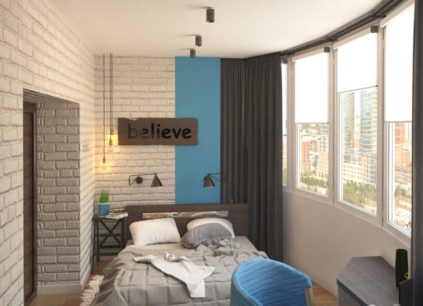 Дизайн спальни в большой лоджии