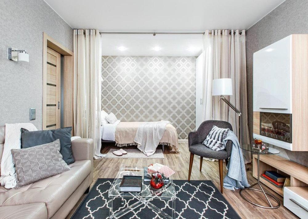 Дизайн однушки с кроватью и диваном