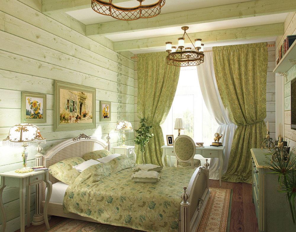 Кровать в спальне деревенского стиля