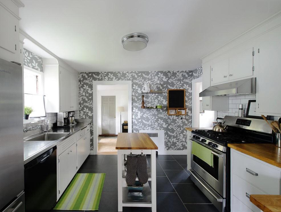 кухня с темным полом декор идеи