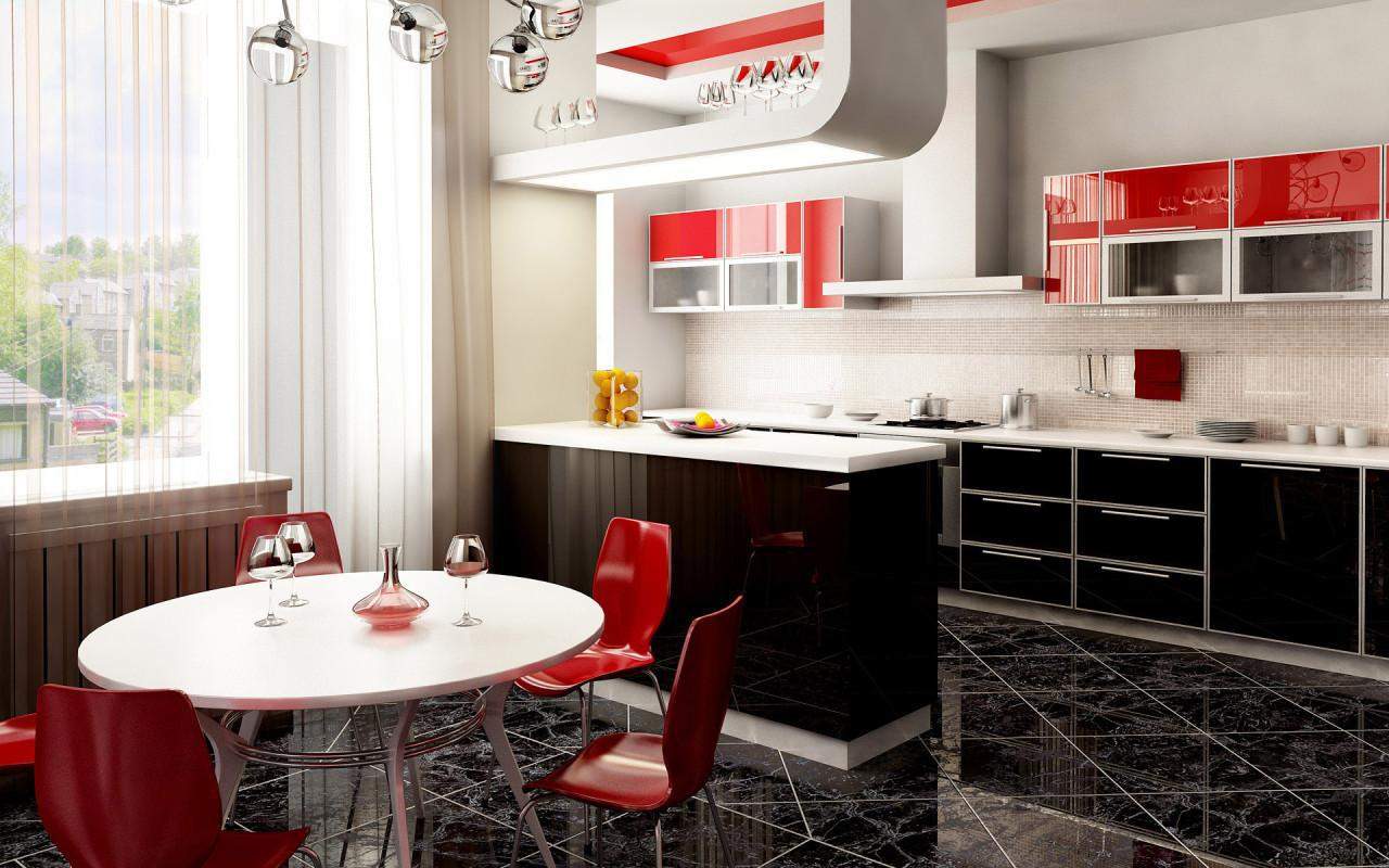 кухня с темным полом дизайн